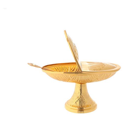 Servicio incensario naveta cucharilla latón dorado cincelado 4