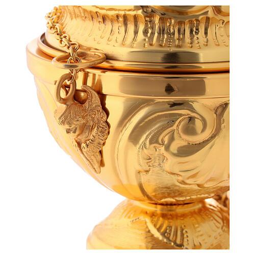 Servicio incensario naveta cucharilla latón dorado cincelado 6