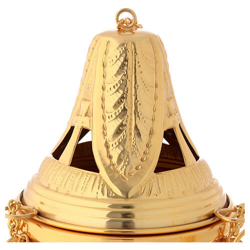Weihrauchfass und Weihrauchschiffchen aus vergoldetem Messing, Kreuz- und Blattmotive 2