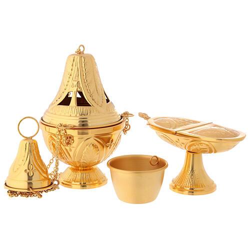 Weihrauchfass und Weihrauchschiffchen aus vergoldetem Messing, Kreuz- und Blattmotive 7