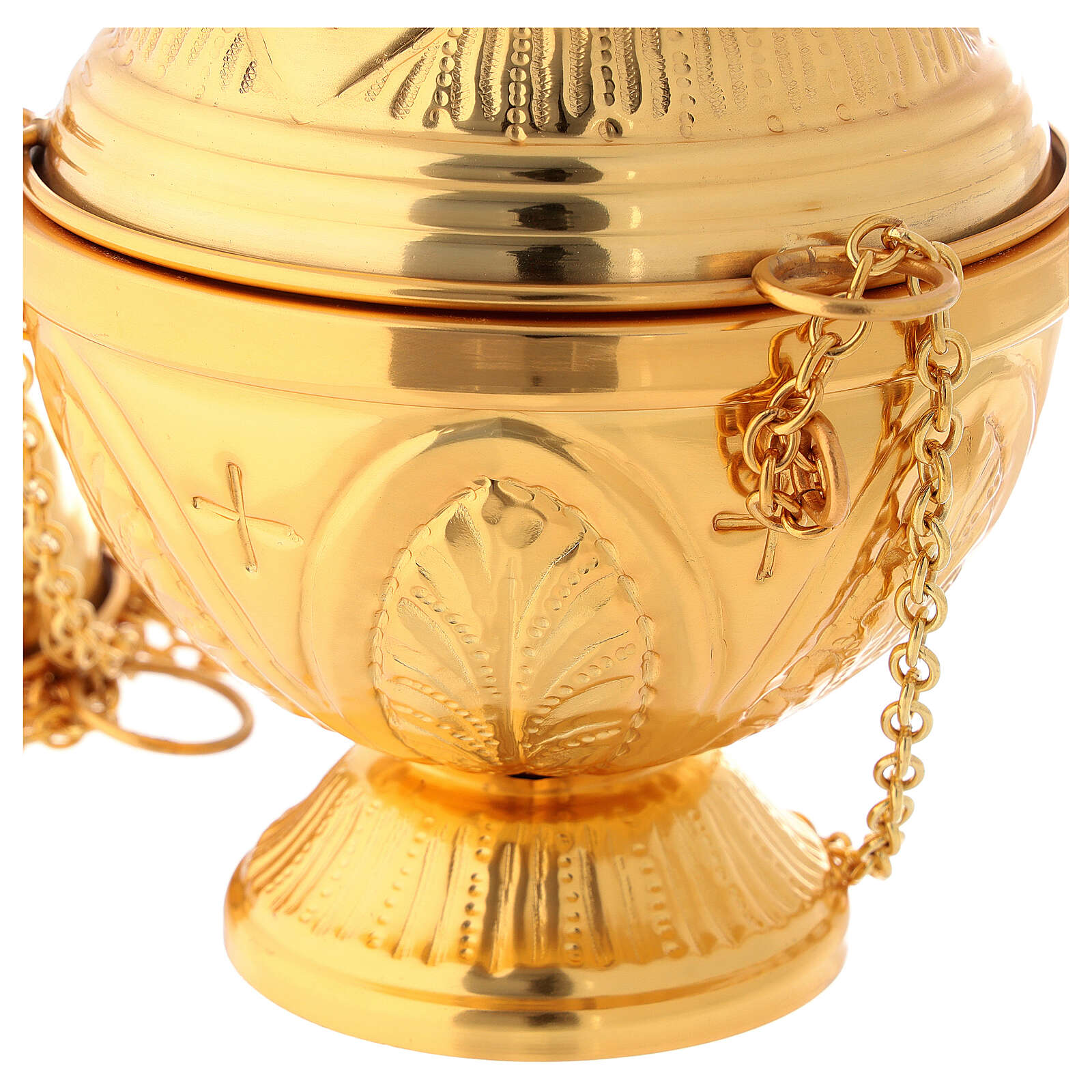 Chiseled gold plated thurible with boat crosses and leaves 3