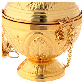 Chiseled gold plated thurible with boat crosses and leaves s4