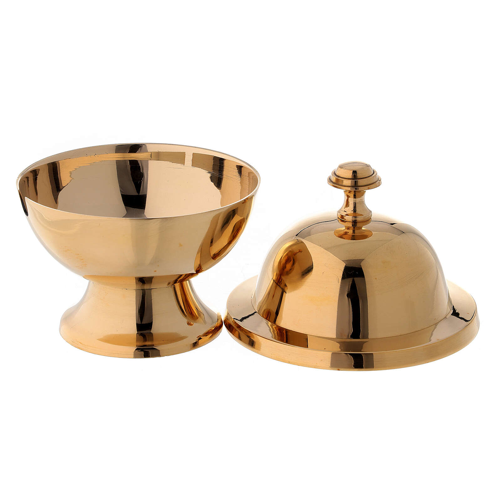 Round shuttle with golden brass spoon 3