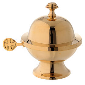 Round shuttle with golden brass spoon s1