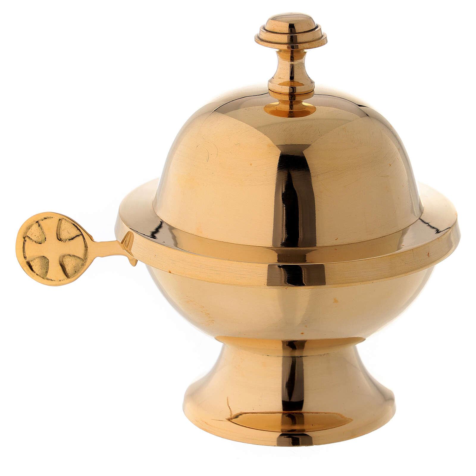 Naveta redonda con cucharilla latón dorado 3