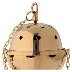 Encensoir laiton doré simple panier amovible hauteur 23 cm s3
