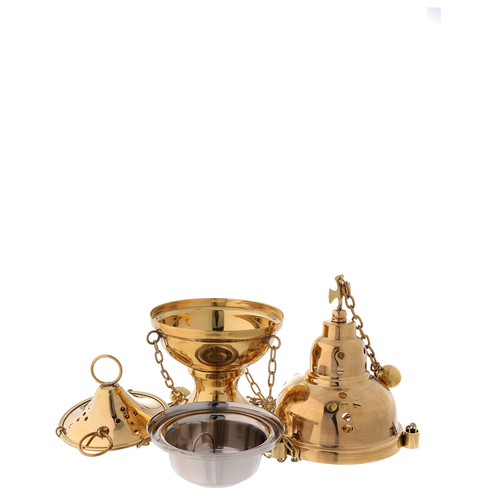 Golden brass censer with bells height 24 cm 3
