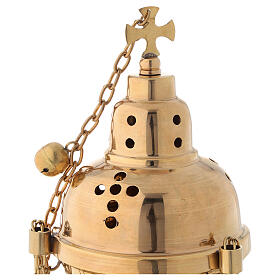 Golden brass censer with bells height 24 cm s2