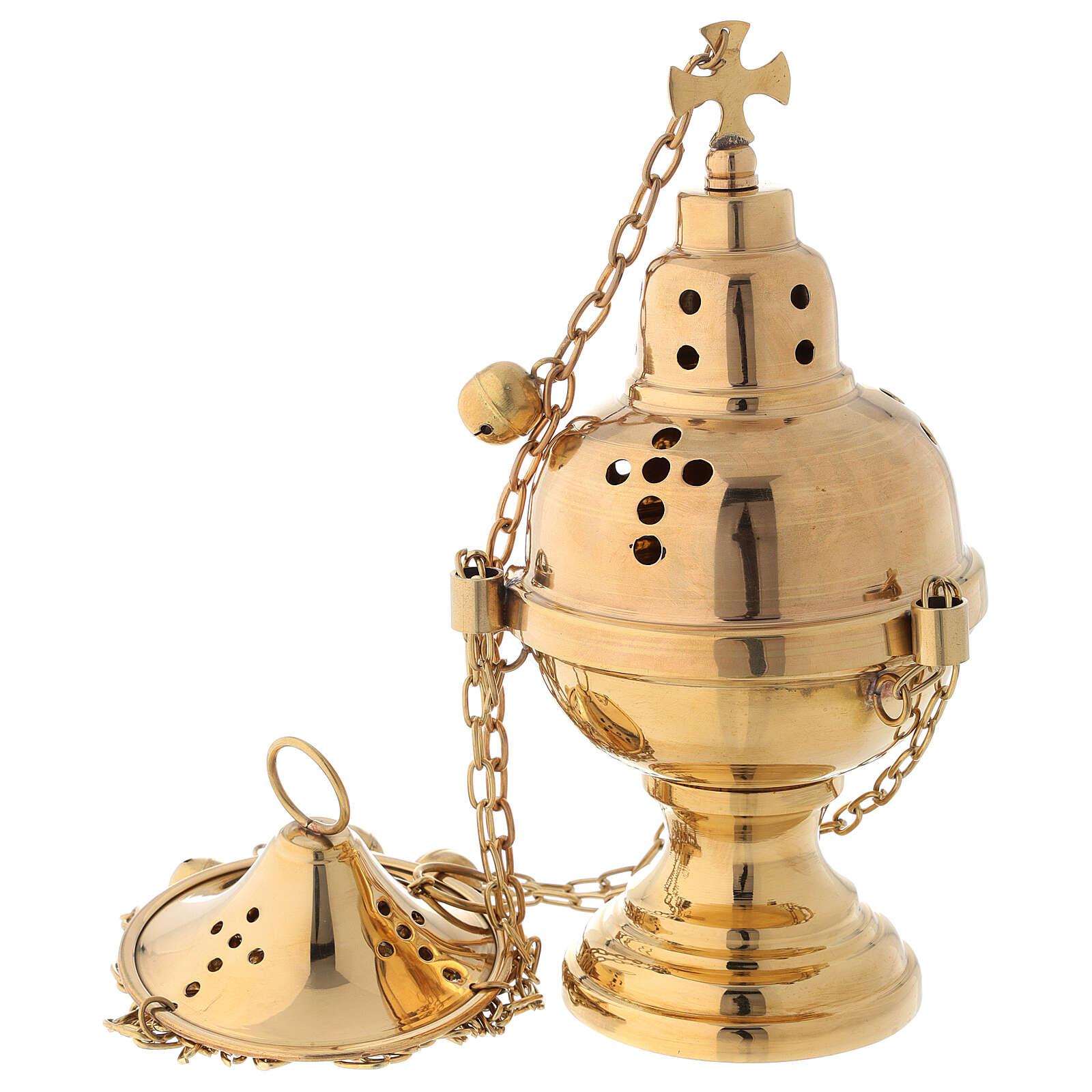 Turibolo ottone dorato con campanelli altezza 24 cm 3