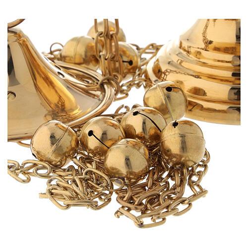 Turibolo ottone dorato con campanelli altezza 24 cm 5