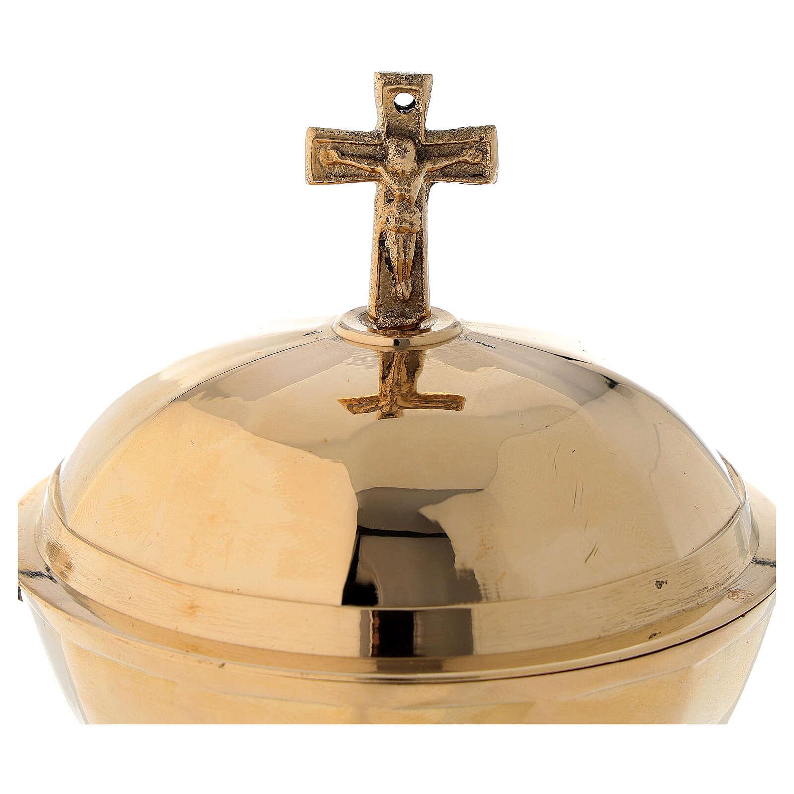 Shuttle for golden brass thurible 12 cm 3
