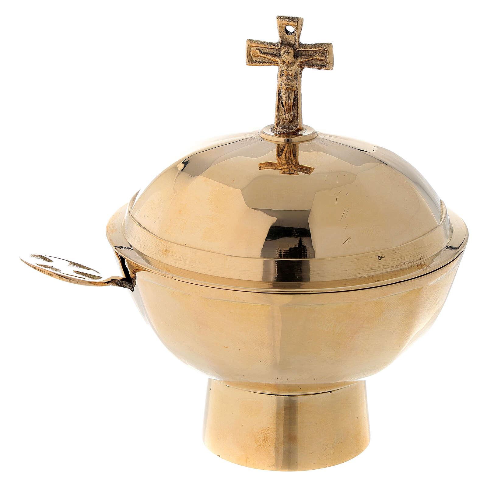 Naveta para incensario latón dorado 12 cm 3