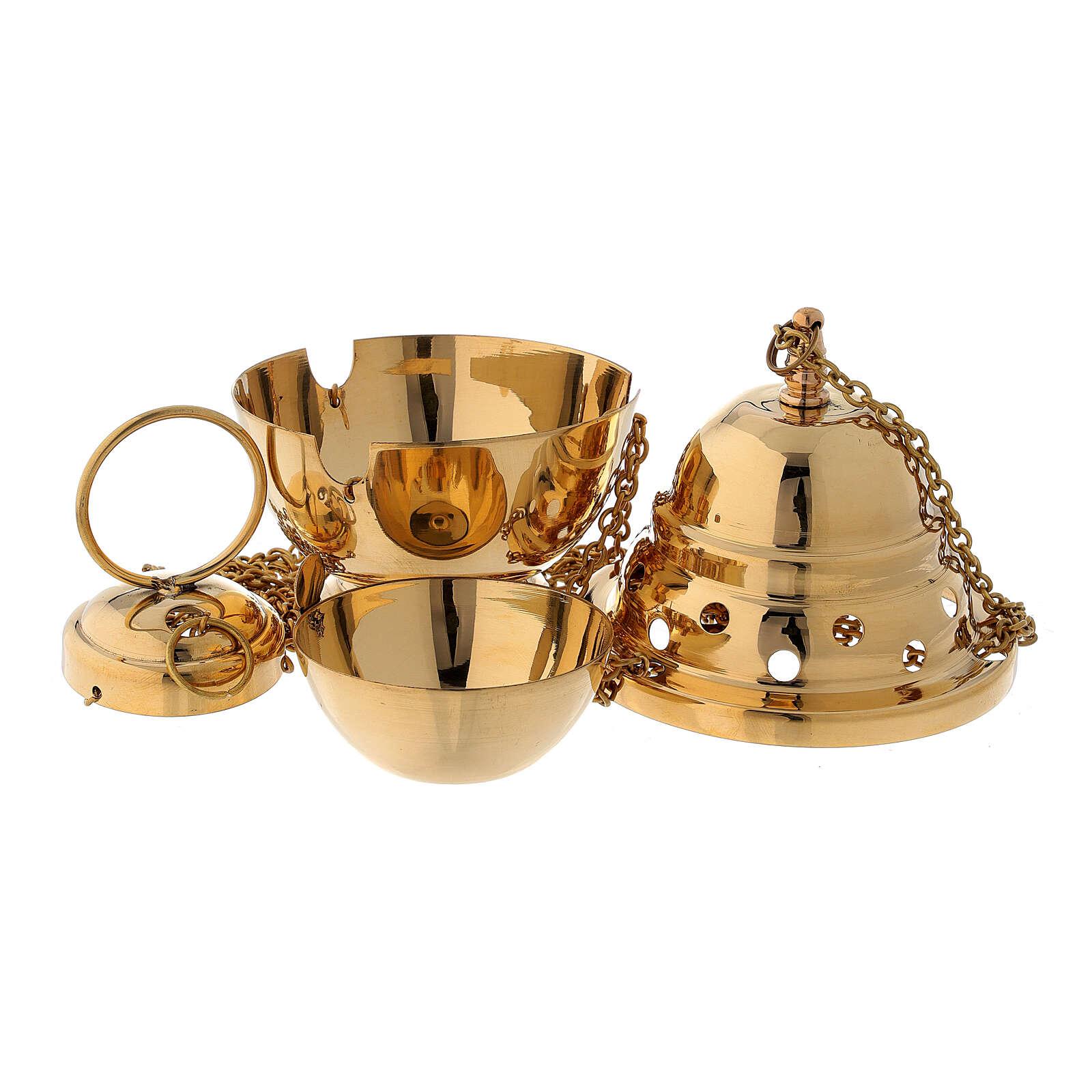Encensoir laiton doré 15 cm 3
