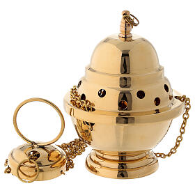 Gold plated brass thurible 6 in s1