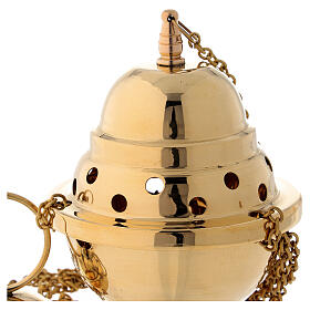 Gold plated brass thurible 6 in s3