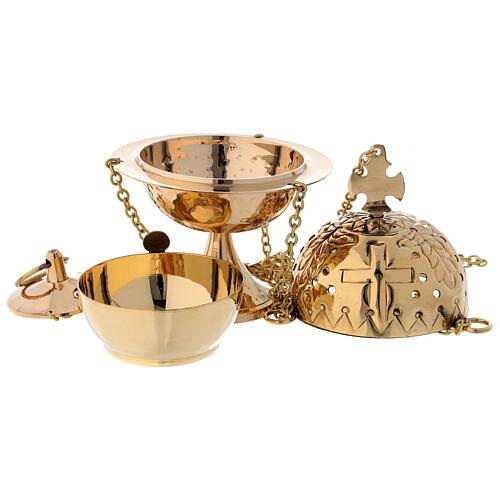 Encensoir avec croix laiton doré 16 cm 3