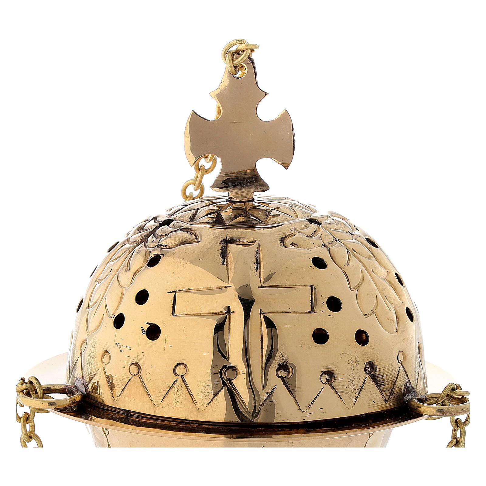 Turibolo con croce ottone dorato 16 cm 3