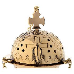 Turíbolo com cruz latão dourado 16 cm s2