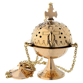 Thurible with cross gold plated brass 6 1/4 in s1