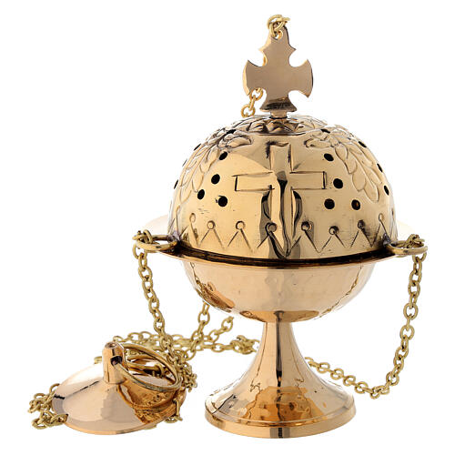 Thurible with cross gold plated brass 6 1/4 in 1
