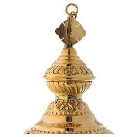 Incensario motivo floral de latón dorado satinado 25 cm s4