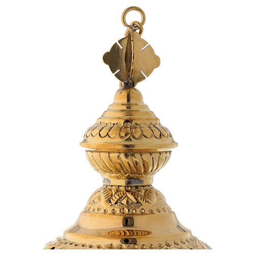 Incensario motivo floral de latón dorado satinado 25 cm 4