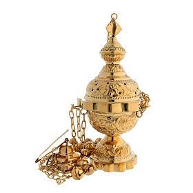 Encensoir décoration florale en laiton doré satiné 25 cm s1