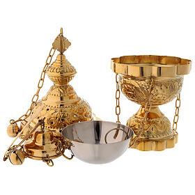 Encensoir décoration florale en laiton doré satiné 25 cm s3