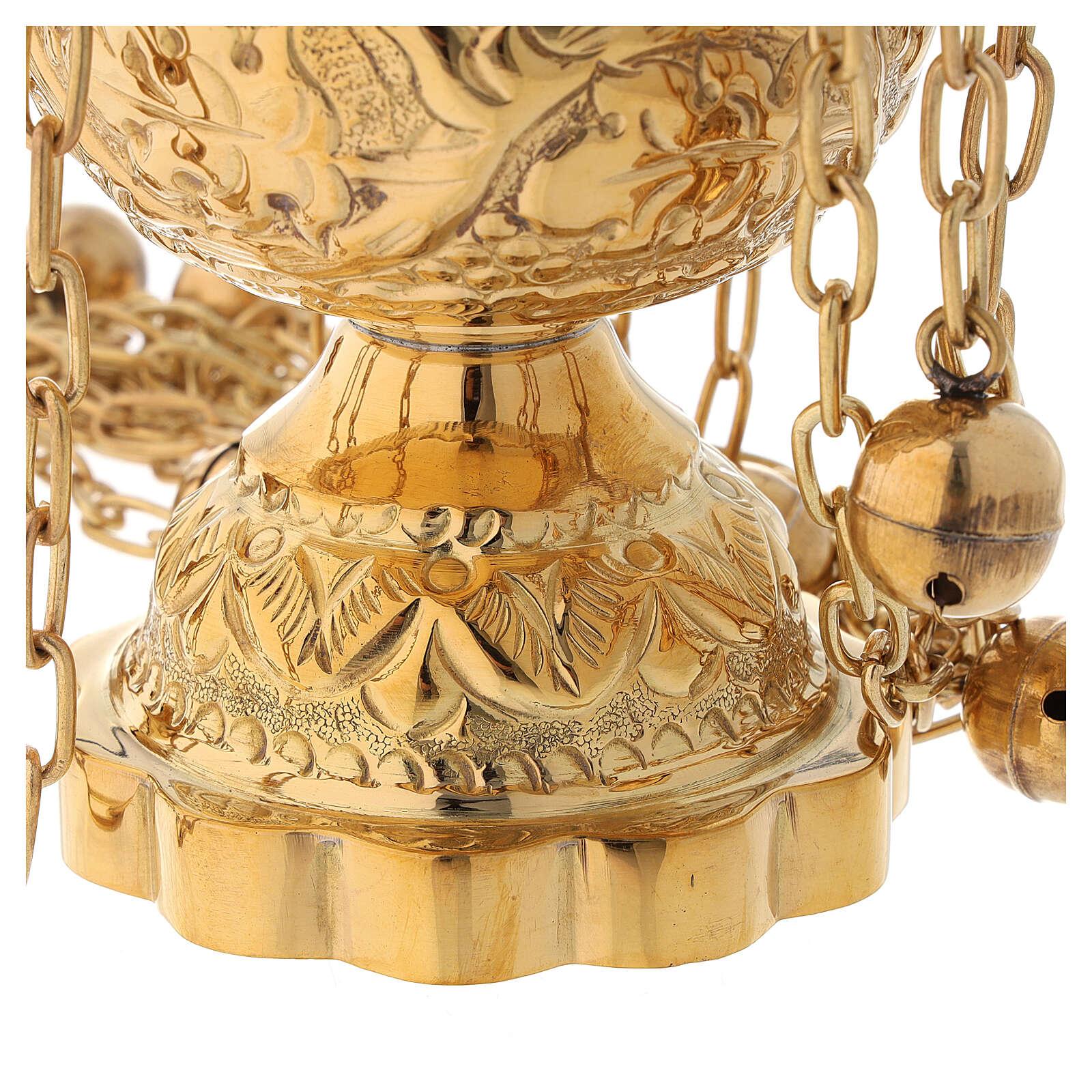 Turibolo decoro floreale in ottone dorato satinato 25 cm 3