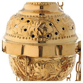 Turibolo decoro floreale in ottone dorato satinato 25 cm s2