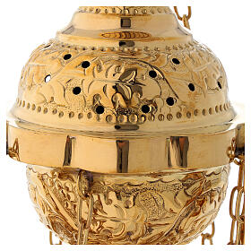 Floral decorated thurible in gold plated brass satin finish 9 3/4 in s2