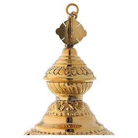 Floral decorated thurible in gold plated brass satin finish 9 3/4 in s4