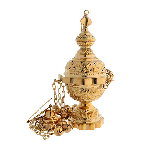Floral decorated thurible in gold plated brass satin finish 9 3/4 in 1