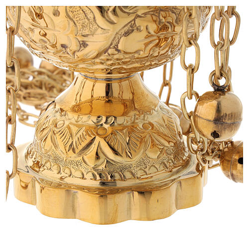 Floral decorated thurible in gold plated brass satin finish 9 3/4 in 5