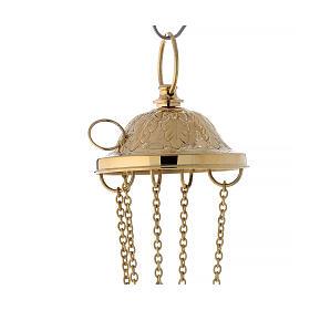 Incensario latón dorado estilo Santiago h 33 cm s5