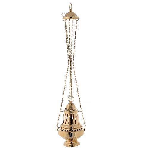 Incensario latón dorado estilo Santiago h 33 cm 4
