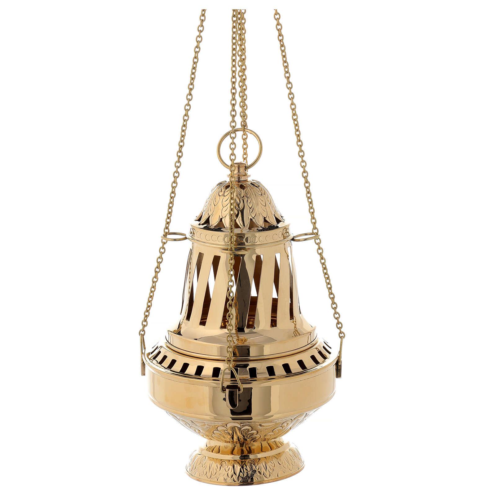 Turibolo ottone dorato stile Santiago h 33 cm 3