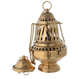 Santiago style thurible in gold plated brass h 13 in s1