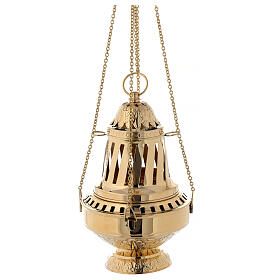 Santiago style thurible in gold plated brass h 13 in s6