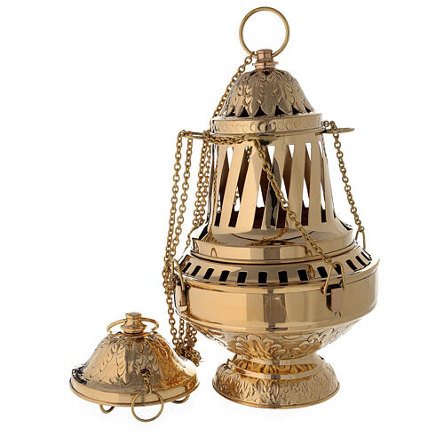 Santiago style thurible in gold plated brass h 13 in 1