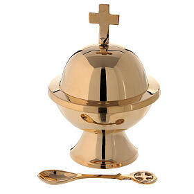 Spherical boat with spoon in gold plated brass h 5 in s1