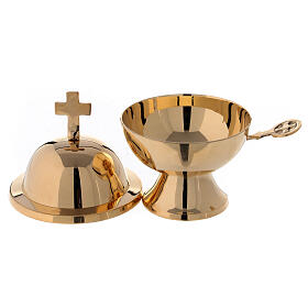Spherical boat with spoon in gold plated brass h 5 in s2