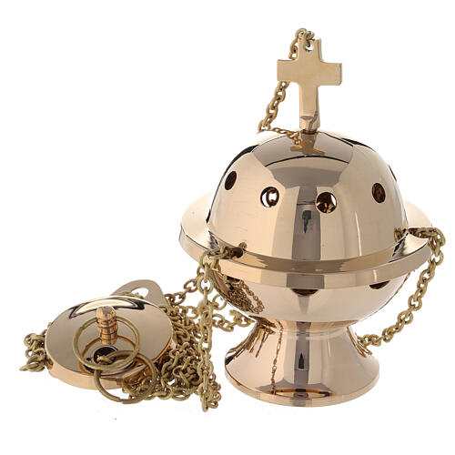 Spherical thurible in gold plated brass h 5 in 1