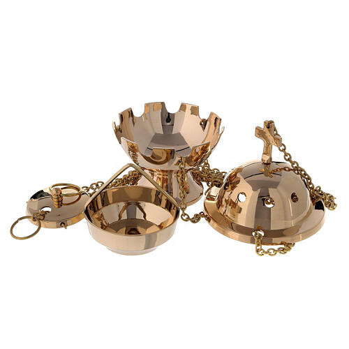 Spherical thurible in gold plated brass h 5 in 2