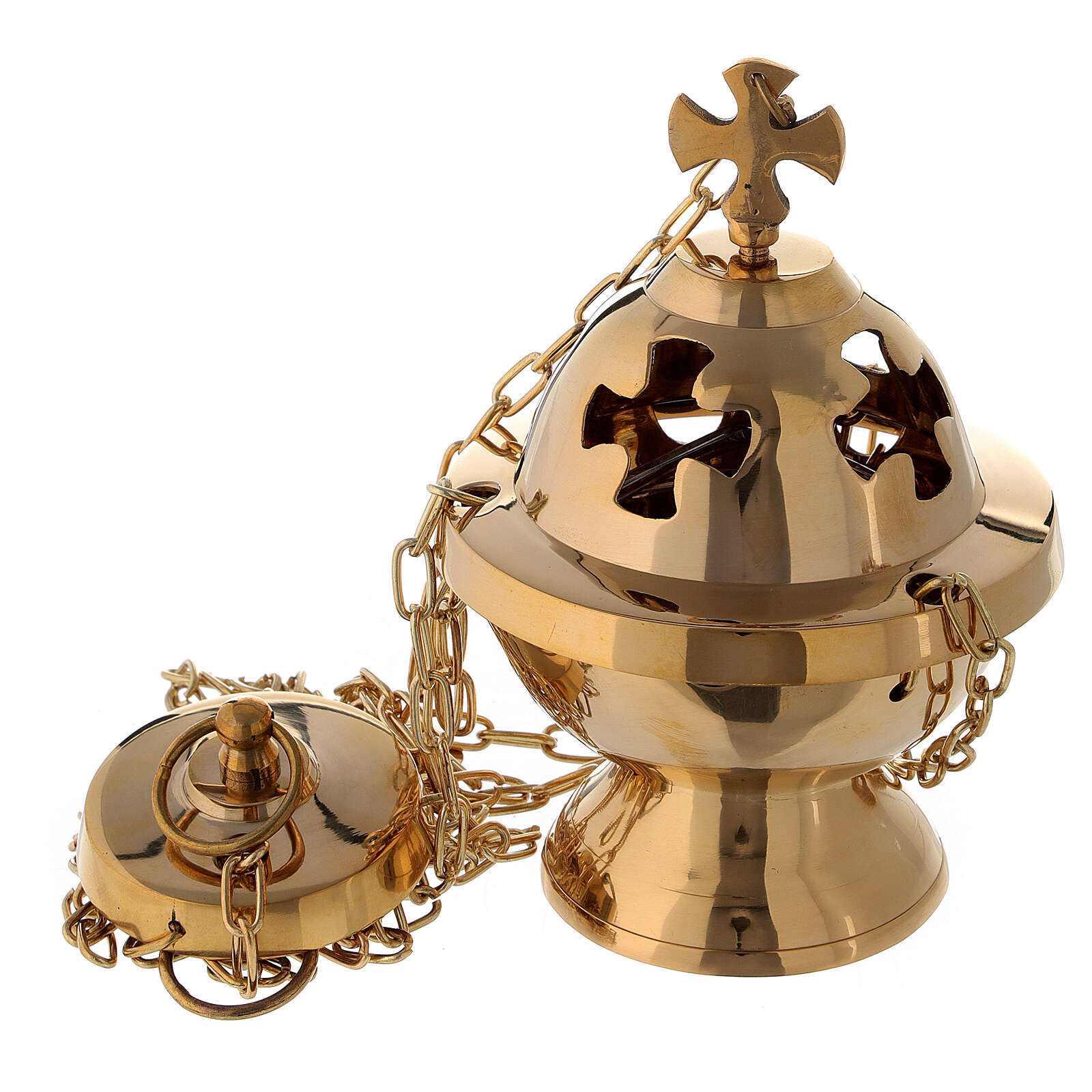 Spherical thurible with maltese cross h 6 in with basket 3