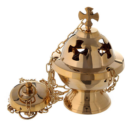 Spherical thurible with maltese cross h 6 in with basket 1