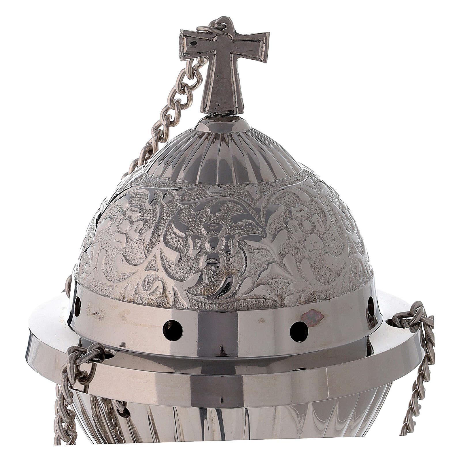 Turibolo ottone nichelato sferico con cestello h 24 cm 3