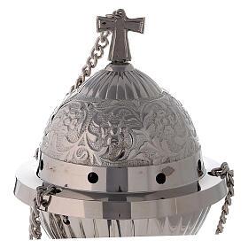 Turibolo ottone nichelato sferico con cestello h 24 cm s2