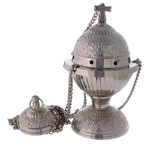 Turibolo ottone nichelato sferico con cestello h 24 cm 1