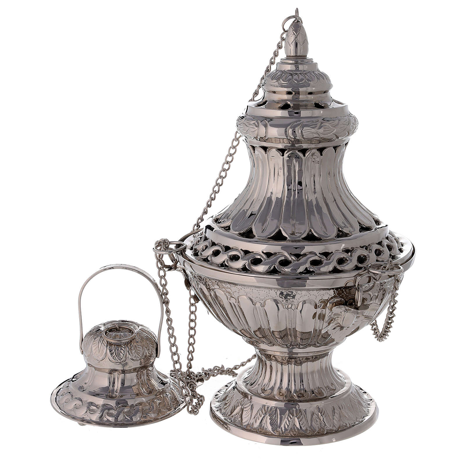 Bell-mouthed thurible in nickel-plated brass 11 3/4 in with basket 3